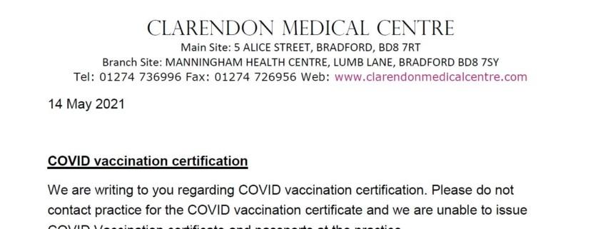 covid vaccine letter